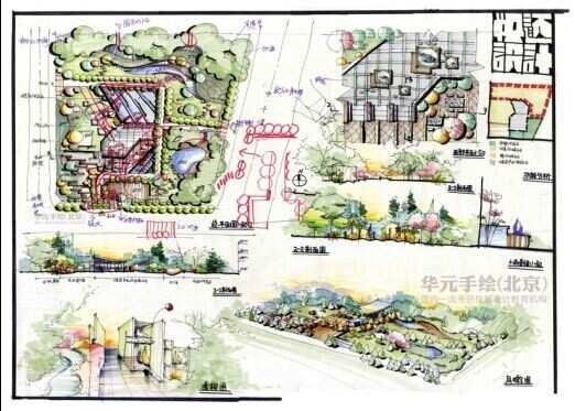 华元手绘 东南大学景观快题第一