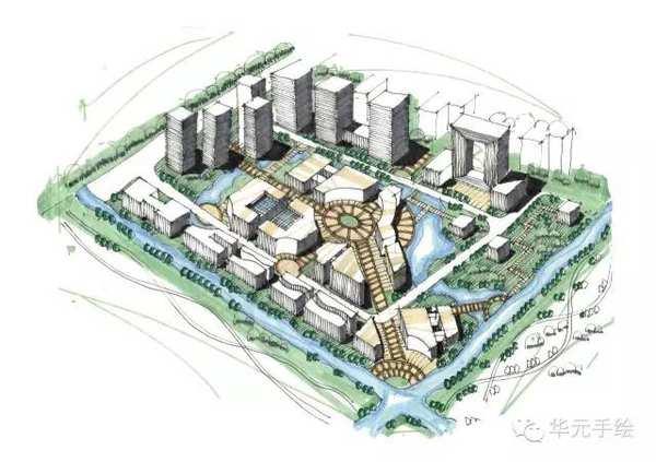 城市设计鸟瞰图手绘
