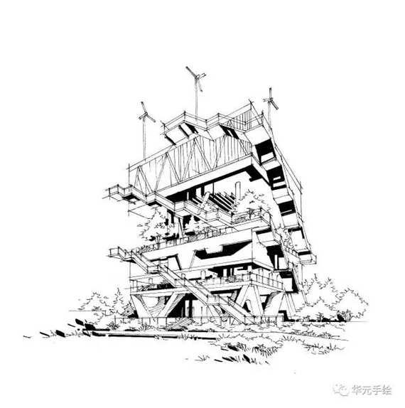 华元手绘景观线稿